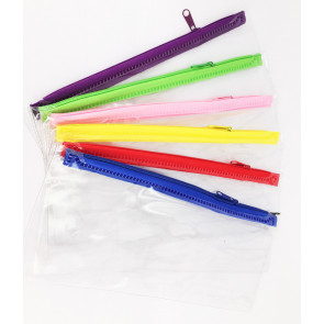 Bulk Stationery | 50 x Clear Plastic Pencil Cases with Colourful Zips