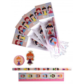 Gifts for Kids | 4 x Princess Stationery Set. Low Cost Class Gift / Party Bag Filler.