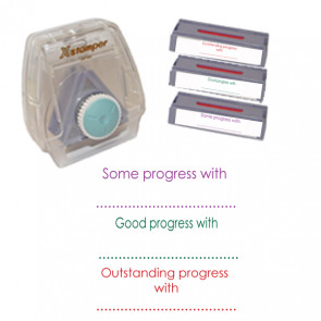 School Stamps | Xstamper 3-in-1 stamp set: Some progress with..,Good progress with..,Outstanding progress with.. Free delivery UK & EU