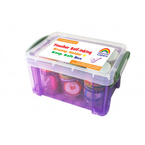 Teacher Stamps | Plastic Storage Box for Round, 22mm School Stamps