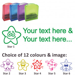 Custom Stamps | Smiley Star Stamp - Rectangle Teacher Stamps Personalised