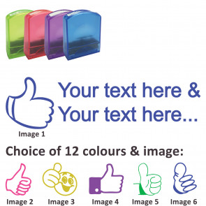 Custom Stamps   Thumbs Up Stamp - Rectangle Teacher Stamps Personalised