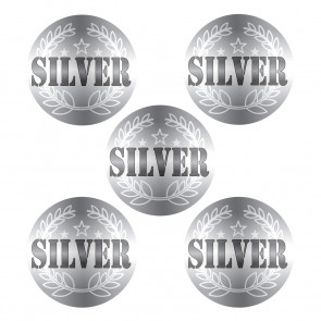 Sports Stickers | 225 Silver Medal Metallic Stickers