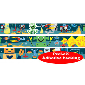 Self-Adhesive Classroom Roll Borders   Space Alien Robot Design - Order by the metre