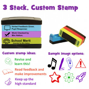 Custom School Stamps | Self-inking Multi-Stamper - 3 stack option