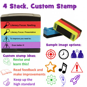 Custom School Stamps | Multi-Layer, Self-Inking Stamp Stack For Personalising