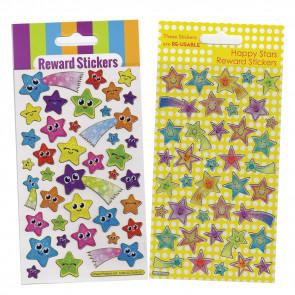 Premium Kids Stickers | Smiley Stars & Shooting Stars -  2 Pack Stickers Set