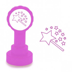 Teacher Stamps | Two Stars and a Wish, Purple Self-inking School Stamp