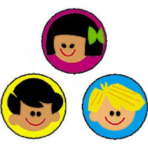 School Stickers | Multi-cultural Kids Faces SuperSpot Mini Teachers Stickers