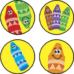 Children's Reward Stickers | Colourful Crayons SuperSpots -  Great for Reward Charts & Crafts