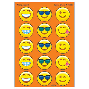 Kids Stickers | 60 Large Emoji Stinky Stickers. Orange Scented