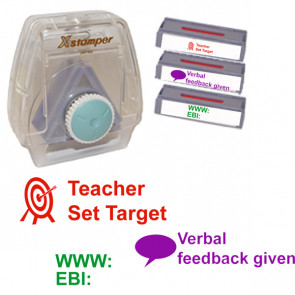 School Stamps | 3-in-1 Teacher Feedback Stamp Set: Teacher Set Target, WWW EBI, Verbal Feedback Given