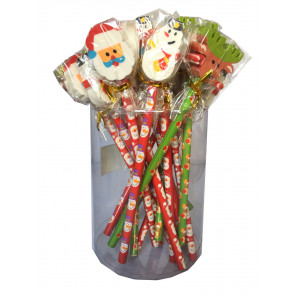 Christmas Cheap Gifts | Bulk Stationery - Christmas Pencils with Santa, Snowman, Rudolph Topper Erasers