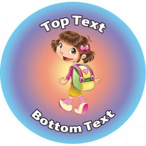 Personalised School Stickers | Walk To School Week - Girl Design Custom Standard and Scented Stickers