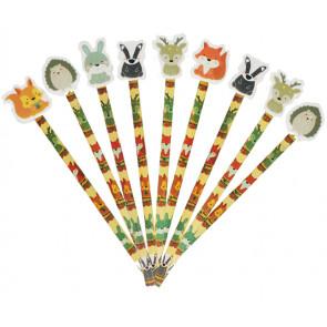 Pupil Gifts | Woodland Friends Pencils & Toppers - Large Eraser Ends