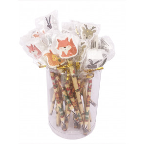 Class Gift / Pupil Presents   Woodland Friends Pencils with Large Eraser Ends