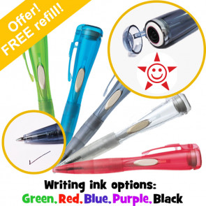 Pen with Stamp | Smiley Star Clix Stamper Pen by Xstamper