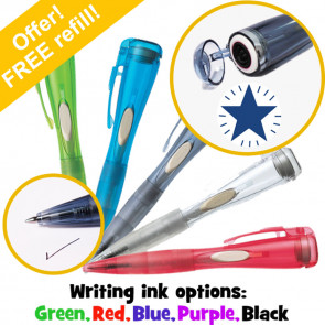 Teacher Stamp Pens | Blue Shining Star Clix Pen With Stamp