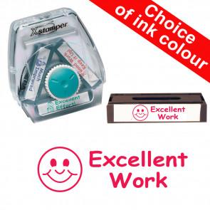 School Stamps | Excellent Work, Smiley Face. Xstamper 3-in-1 Twist Stamp