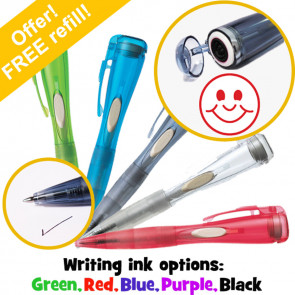 Pen Stamp | Smiley Face Clix Stamp Pen. Choice Writing Ink Colour