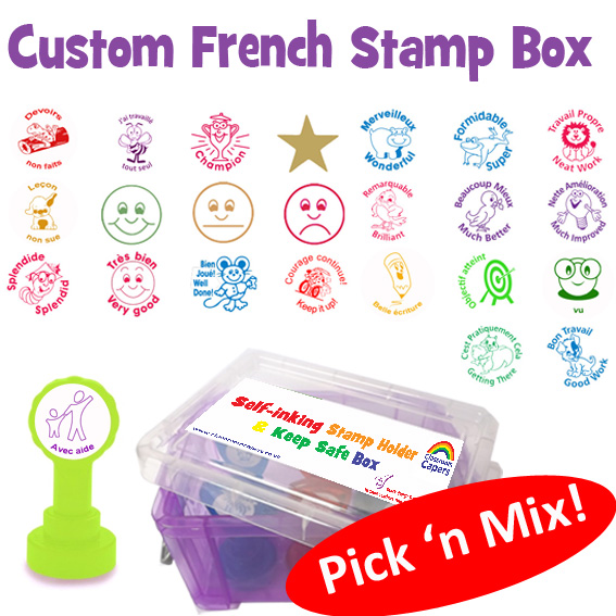 New French Language Pick and Mix Self-inking Stamp Box