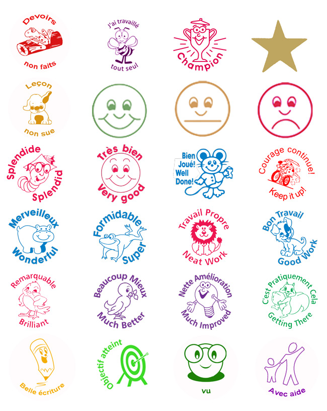 All our current French Language Marking and Praise (including image only) Self-inking Stamps